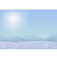 Beautiful simple flat Chrismas winter mountains vector