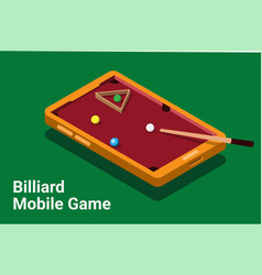 Billiard mobile smartphone game isometric vector