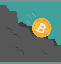 Bitcoin falls down rock cartoon style vector