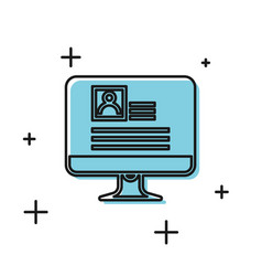 Black computer monitor with resume icon isolated vector
