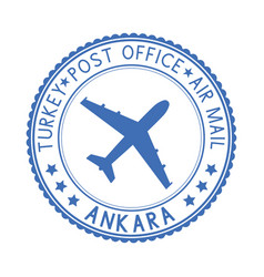 Blue stamp with ankara turkey and aircraft symbol vector