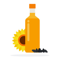 bottle sunflower oil with sunflowers and vector image