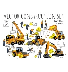 Building people and construction equipment vector