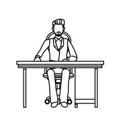 Business man sitting desk working outline vector