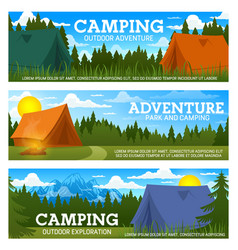 camp tents and campfire forest trees and mountain vector image