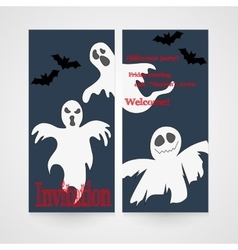 Card with hand drawn doodle ghosts Invitation for vector image