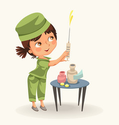 cartoon nurse with syringe poster vector image