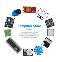 Cartoon pc components for computer store banner vector