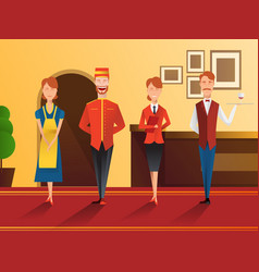 character of smiling hotel staff flat gradient vector image