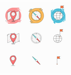 Check point with map compass pointer flag with vector