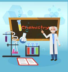 Chemistry lesson teacher in smock elderly standing vector
