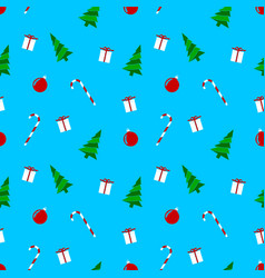 christmas motifs blue wrapping paper pattern vector image