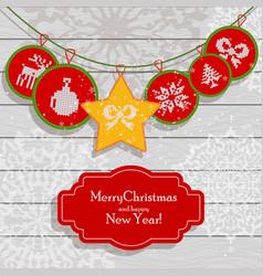 Christmas scandinavian light card red vector