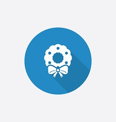 Christmas wreath Flat Blue Simple Icon with long vector image