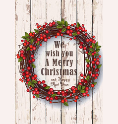christmas wreath on a rustic background vector image
