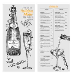 Cocktail bar menu design template set in retro vector