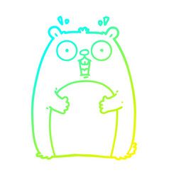 Cold gradient line drawing cartoon shocked ground vector