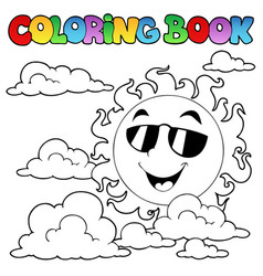 coloring book with sun and clouds 1 vector image