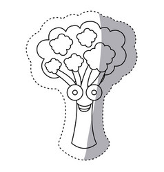 contour kawaii happy broccoli icon vector image