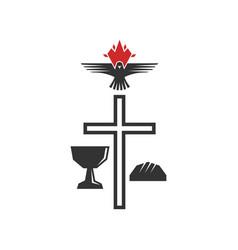 Cross savior jesus christ holy bowl vector