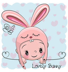 cute cartoon baby boy in a bunny hat vector image