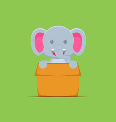 Cute elephant playing box cartoon vector
