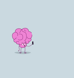 Cute human brain taking selfie photo pink cartoon vector