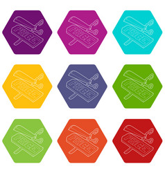 cutting prices icons set 9 vector image