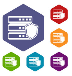 database with gray shield icons set vector image