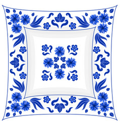 Decorative rectangular porcelain plate ornate vector