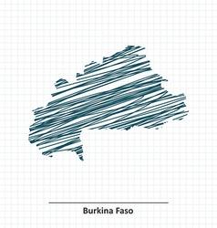 Doodle sketch of Burkina Faso map vector