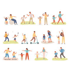 family active sport set mother daughter play vector image