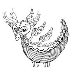 fantasy cartoon dragon coloring page for kids and vector image