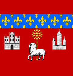 Flag of toulouse in haute-garonne in occitanie is vector