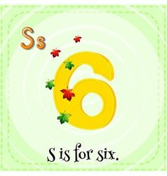Flashcard letter S is for six vector image