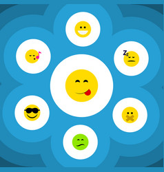 Flat icon emoji set of frown happy grin and vector