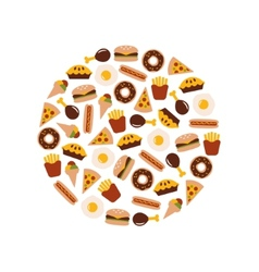 food flat icons in circle vector image