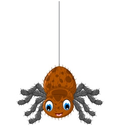 funny brown spider cartoon posing vector image