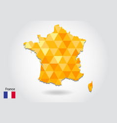 geometric polygonal style map of france low poly vector image
