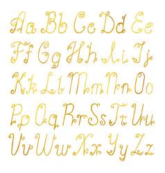 Gold brushed latin alphabet vector