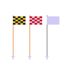 golf flags set isolated on white background flat vector image