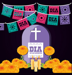 Gravestone day of the dead party vector