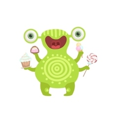Green tattooed friendly monster with sweets vector