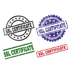 Grunge textured ssl certificate stamp seals vector