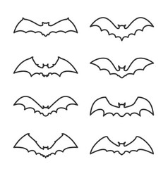 halloween flying outline icon set vector image