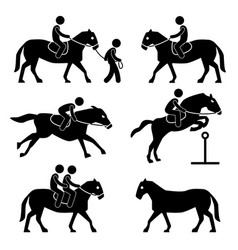 horse riding training jockey equestrian icon vector image