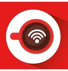 internet coffee wifi connection icon vector image vector image