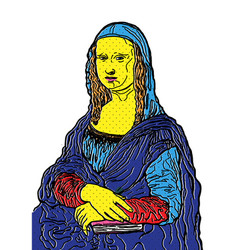 Isolated of mona lisa painting in pop art style vector