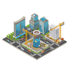 Isometric under construction city concept vector