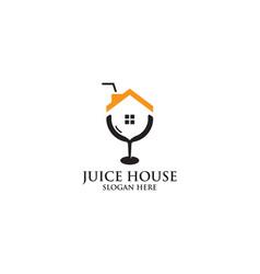 Juice house logo design vector